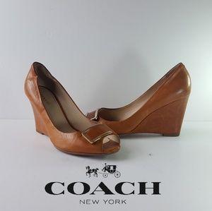 Coach 7.5 Wedges Cognag Leather Heels